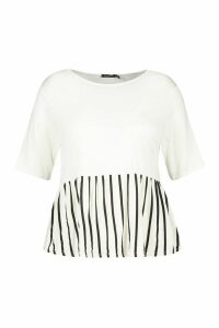 Womens Plus Contrast Stripe Smock Top - White - 20, White
