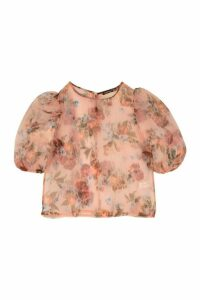 Womens Petite Floral Organza Puff Sleeve T-Shirt - Pink - 14, Pink