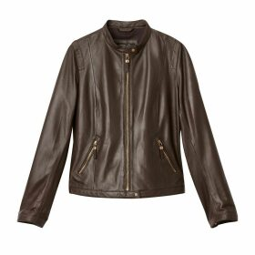 Leather Bomber Jacket with Pockets