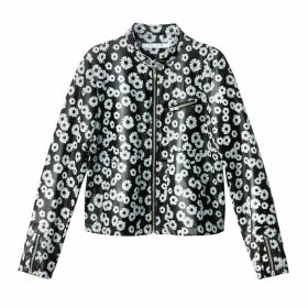 Floral Print Faux Leather Jacket
