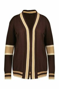 Womens Plus Contrast Stripe Cardigan - Brown - 24, Brown