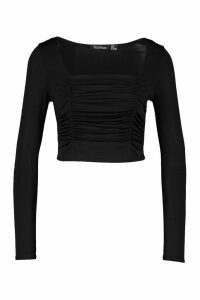 Womens Petite Ruched Square Neck Crop Top - Black - 14, Black