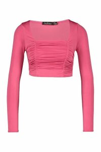 Womens Petite Ruched Square Neck Crop Top - Pink - 14, Pink
