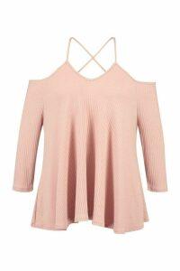 Womens Plus Soft Rib Cross Strap Swing Top - Pink - 24, Pink