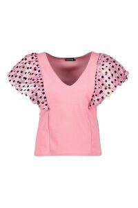 Womens Plus Polka Dot Organza Plunge Top - Pink - 28, Pink