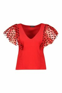 Womens Plus Polka Dot Organza Plunge Top - Red - 16, Red