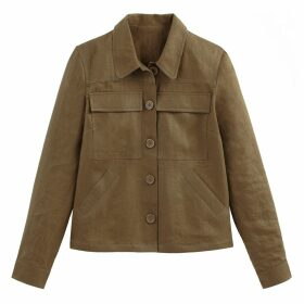 Linen Cropped Utility Jacket with Pockets