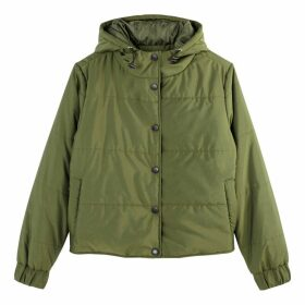 Short Hooded Padded Jacket with Pockets