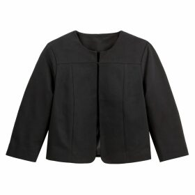 Cropped Fitted Collarless Jacket in Cotton Mix