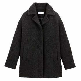 Mid-Length Teddy Bouclé Coat with Pockets