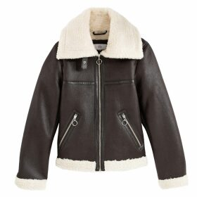 Faux Leather Aviator Jacket with Faux Fur Lining and Pockets