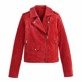 Cropped Suede Biker Jacket with Pockets