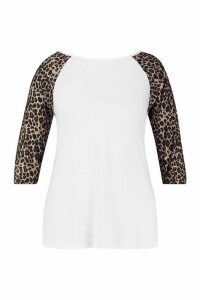 Womens Plus Contrast Leopard Sleeve T-Shirt - White - 20, White