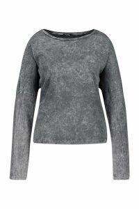 Womens Plus Acid Long Sleeve T-Shirt - Grey - 20, Grey