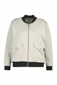 Womens Plus Pocket Detail Bomber Jacket - Grey - 18, Grey