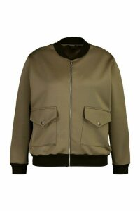 Womens Plus Pocket Detail Bomber Jacket - Green - 26, Green