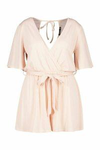 Womens Plus Rib Wrap Self Belt Playsuit - Pink - 20, Pink