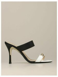 Furla High Heel Shoes Yc89 Furla Sandal In Bicolor Leather With Logo