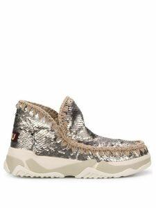 Mou round toe sequin eskimo sneakers - SILVER