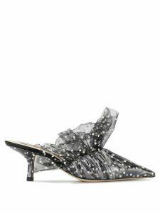 Midnight 00 polka dot patterned ruffled mules - Black