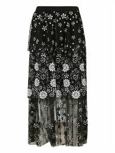 self-portrait Deco Sequin Tiered Midi Skirt