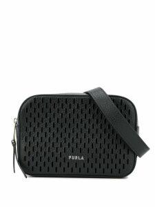 Furla laser cut logo belt bag - Black