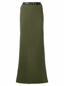 UNRAVEL PROJECT ribbed knit long skirt - Green
