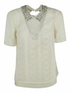 Be Blumarine Crystal Embellished Lace Top