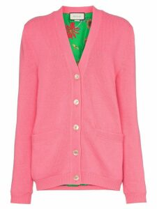 Gucci contrast GG oversized knitted cardigan - PINK