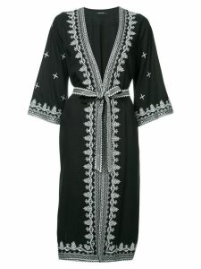 Loveless embroidered belted coat - Black