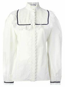 Gucci pleat and frill yoke blouse - White