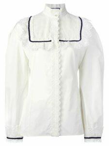 Gucci pleat and frill yoke blouse - White