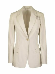 Brunello Cucinelli Raw Cotton And Viscose Blazer With Square Pocket And Jewels
