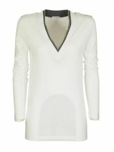 Brunello Cucinelli Long Sleeve T-shirt V-neck In Stretch Cotton With Monili Insert