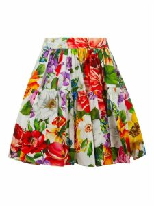 Dolce & Gabbana Floral Print Pleated Detail Skirt