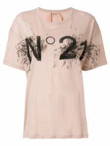 Nº21 logo print T-shirt - NEUTRALS