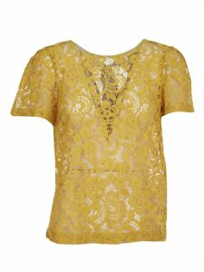 SEMICOUTURE Yellow Lace T-shirt