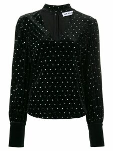 Self-Portrait crystal studded blouse - Black