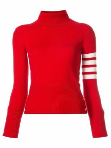 Thom Browne 4-bar stripe turtle-neck jumper - Red
