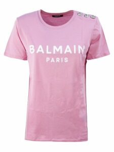 Balmain Pink And White Cotton T-shirt