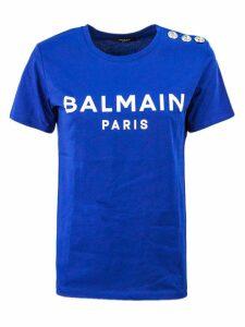 Balmain Blue And White Cotton T-shirt