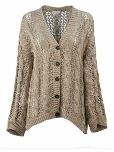 Brunello Cucinelli Dazzling Cable & Net Cardigan