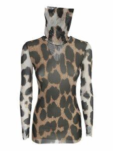 Ganni Printed Mesh Sweater L/s Crew Neck Animalier