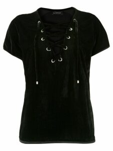 Olympiah lace-up velvet blouse - Black