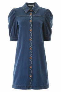 See by Chloé Scallop Embroidery Denim Dress
