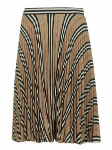 Burberry Stripe Pleated Skirt