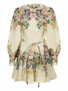 Zimmermann Wavelength Bell Sleeve Mini Dress