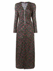 Miu Miu button-embellished printed maxi dress - Black