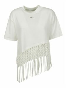 Off-White Asymmetrical Hem Fishnet T-shirt