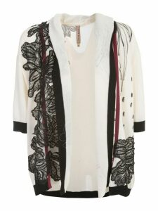 Antonio Marras Cardigan Hand Painted W/swarovsky And Lace